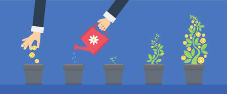 Investing money concept. Growing money, having resources and getting monetization. Watering sprout. Green plant with coins.