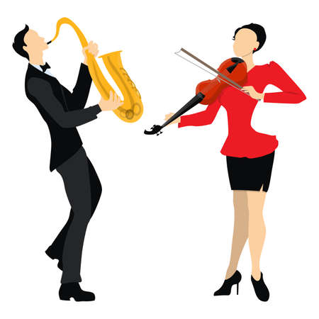 Isolated professional musicians on white background. Male and Female musicians in uniform with saxophone and violin. Playing in duet. Illustration