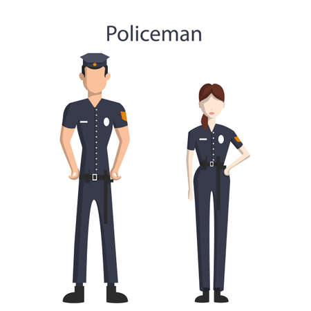 officers: Isolated professional police officers. male and female police officers in uniform standing on white background. Illustration