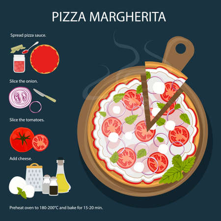 Pizza Margherita recipe. Tasty and fresh italian fast food. Pizza with cheese, tomatoes and herbs.