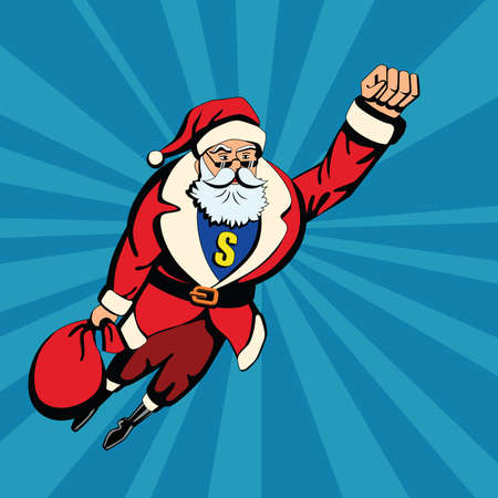Pop art santa. Santa Claus as superhero flying with red bag of gifts. Yellow S letter. Illustration