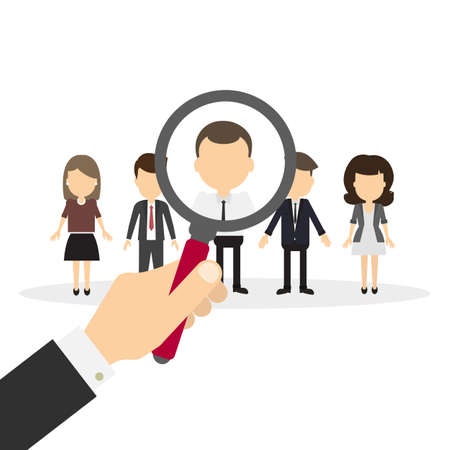 Hiring staff concept. Hand with magnifying glass finding and recruiting new worker. Illustration