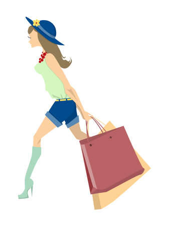 happy shopper: Isolated shopping woman on white background. Elegant, young and slim woman in beautiful outfit with colorful shopping bags.
