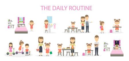 La rutina diaria de una niña. Conjunto de tareas y actividades domésticas. Desde la mañana hasta la noche. Ilustración de vector