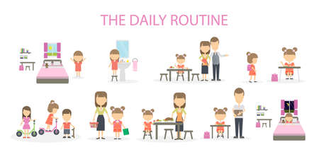 breakfast in bed: The daily routine of a girl. Set of domestic chores and activities. From morning till night.