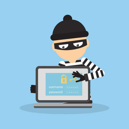 Concept of hacking. Thief trying to hack personal information and download data. Illustration