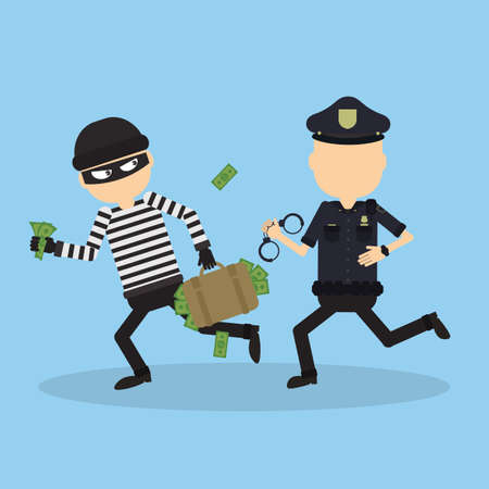 heist: Policeman tries to chase a thief. Funny cartoon character.Concept of heist, crime, hacking and more. Illustration