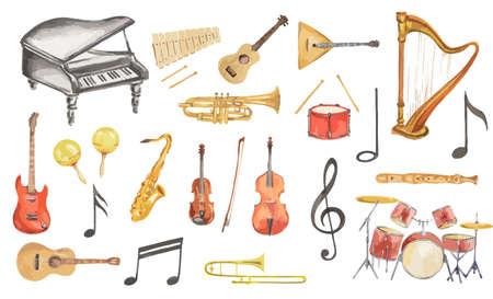 Akwarela zestaw instrumentów muzycznych. Wszystkie instrumenty takie jak fortepian, saksofon, trąbka, perkusja i inne.