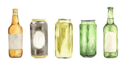 Watercolor beer set. Isolated beer bottles on white background. Illustration