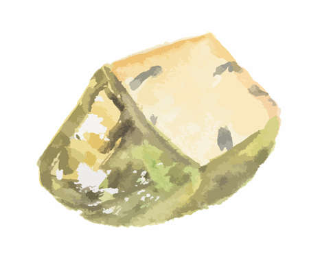 Isolated watercolor blue cheese on white background. Delicious gourmet cheese with mold. French product. Illustration
