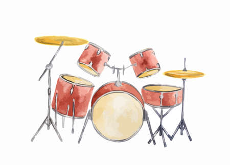 Waterverf het drum set op een witte achtergrond. Rock band apparatuur.