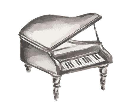 Watercolor geïsoleerd piano op een witte achtergrond. Orchestral apparatuur. Stock Illustratie