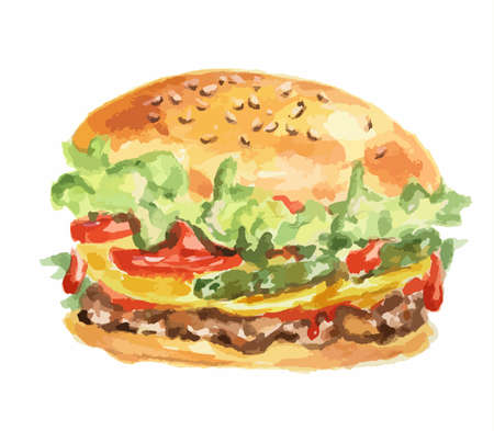 pickle: Isolated hamburger on white background. Fresh and delicious hamburger with tomatoes, lettuce, meat and sauce. Watercolor art.
