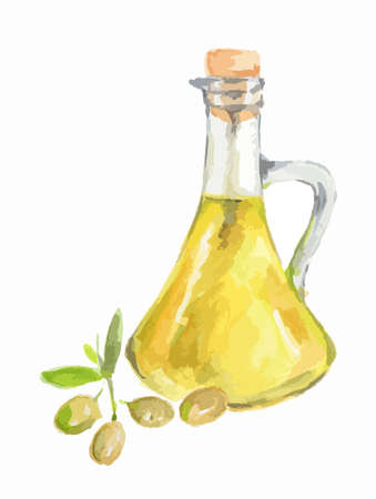 Watercolor olive oil bottles with green olives on white background. Healthy and useful oil for frying and dressing. Illustration