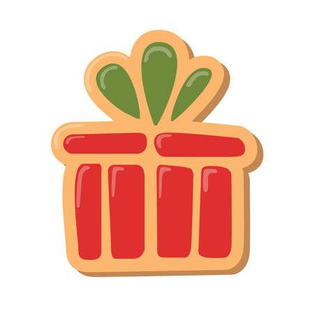 galleta de jengibre: Regalo de la Navidad cookies. galletas de jengibre con la decoración aislada en el fondo blanco. regalo dulce y delicioso día de fiesta. Caja roja de la Navidad con el arco verde. Vectores