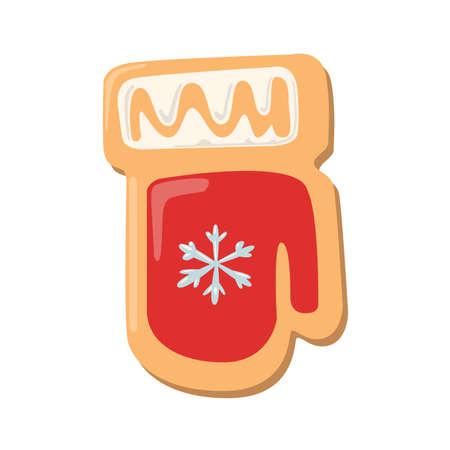 galleta de jengibre: galletas de Navidad manopla. galletas de jengibre con la decoración aislada en el fondo blanco. regalo dulce y delicioso día de fiesta. manopla roja con copo de nieve.