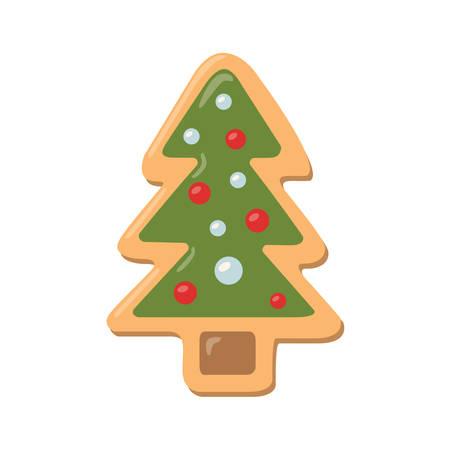 galleta de jengibre: Galletas del árbol de navidad. galletas de jengibre con la decoración aislada en el fondo blanco. regalo dulce y delicioso día de fiesta. Árbol de Navidad con juguetes.