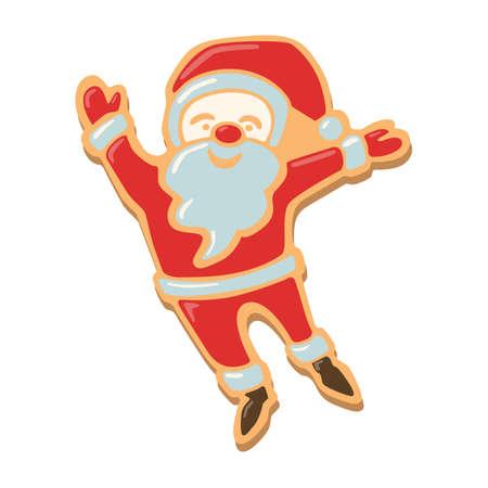 galleta de jengibre: galletas de Navidad de santa. galletas de jengibre con la decoración aislada en el fondo blanco. regalo dulce y delicioso día de fiesta. Santa feliz. Vectores