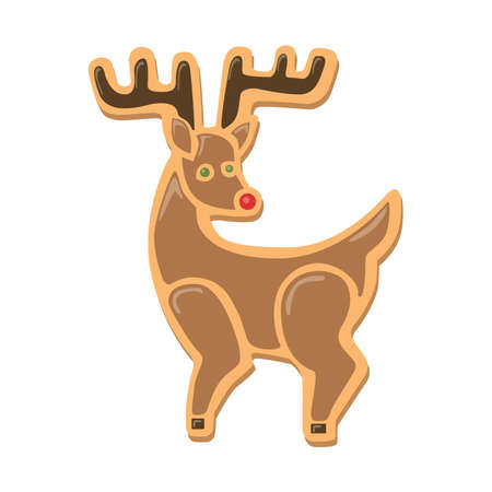 red nose: Christmas cookies deer. Isolated ginger cookie with decoration on white background. Sweet and delicious holiday gift. Deer with red nose. Illustration
