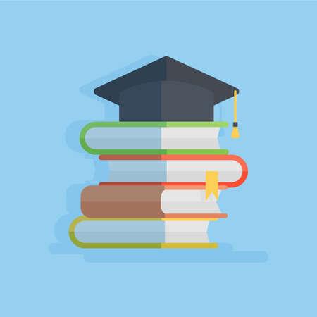 achievment: Hat with books. Concept of graduation, university study and education achievment. Illustration