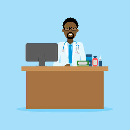 african american male: Doctor in the cabinet. Funny smiling african american male doctor sitting in the medical cabinet. Medical treatment, first aid. Illustration