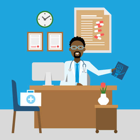 african american male: Doctor in the cabinet. Funny smiling african american male doctor in the medical cabinet. Medical treatment, first aid. Illustration