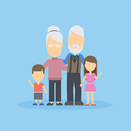 grand son: Grandparents with grandkids. Happy family portrait on blue background.