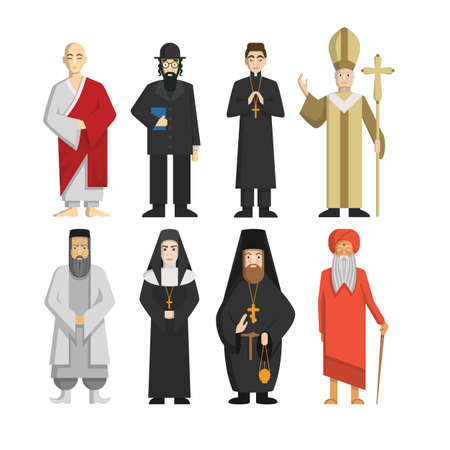 Religion representatives set. Pope and priest, rabbi and monk and others. Religious culture. Illustration
