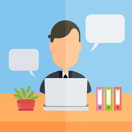 ceo office: Man at office. Office worker sitting at the table with laptop and speech bubbles.