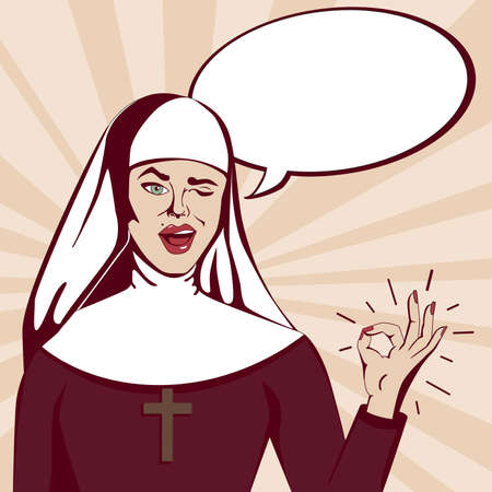 Retro Pop art nun. Beautiful smiling and winking nun with ok gesture and speech bubble. Illustration