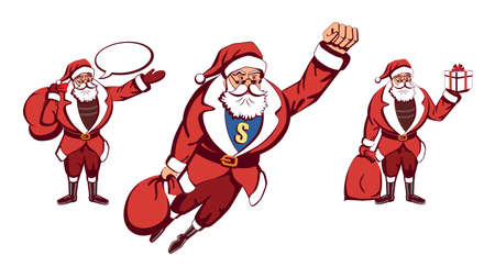 santa s bag: Pop art santa. Santa Claus as superhero flying with red bag of gifts. Yellow S letter. Santa with sale. Santa with gift in the hand.