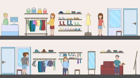 clothing store: Shopping mall interior. Indoor interior. Fashion boutique. Mirrors and shelves and customer.