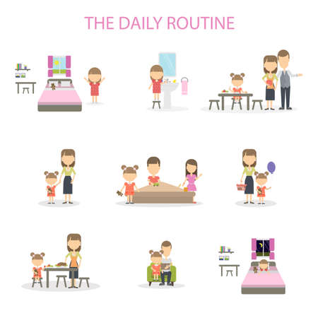 wake up happy: The daily routine of a girl. Set of domestic chores and activities. From morning till night.