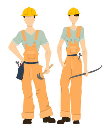 Isolated professional builders on white background. Male and female builders in uniform and hardhats. Engineering proffesion.