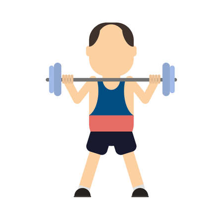 Isolated weight lifter on white background. Man with barbell.