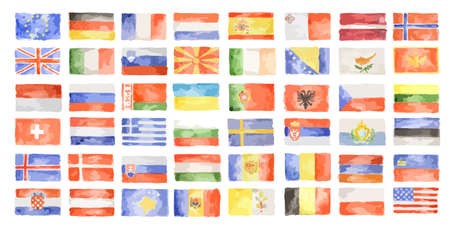 Watercolor world flags. All kinds of country symbols.