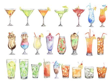 zestaw koktajli akwarelowych. Odosobnione szklanki z napojami alkoholu na bia? Ym tle. Ilustracje wektorowe
