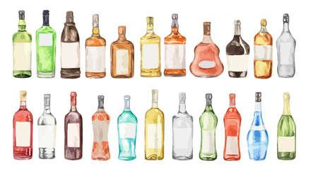 水彩アルコール セット。白い背景の多くのボトル。ワイン、お酒、シャンパン、ビール。  イラスト・ベクター素材