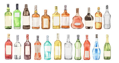 Watercolor alcohol set. Many bottles on white background. Wine, liquor, champagne and beer.