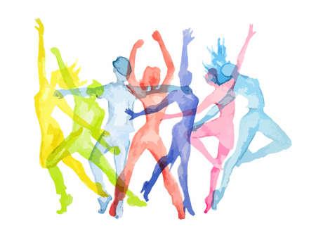 水彩ダンス背景白に設定します。ダンスのポーズ。健康的なライフ スタイル、エネルギーを得るします。