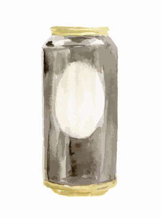 beer can: Isolated watercolor beer can on white background.