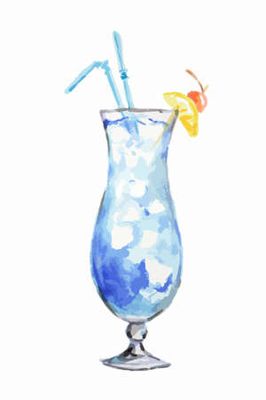 collins: Isolated watercolor cocktail. Isolated glass with alcohol drink on white background. Illustration