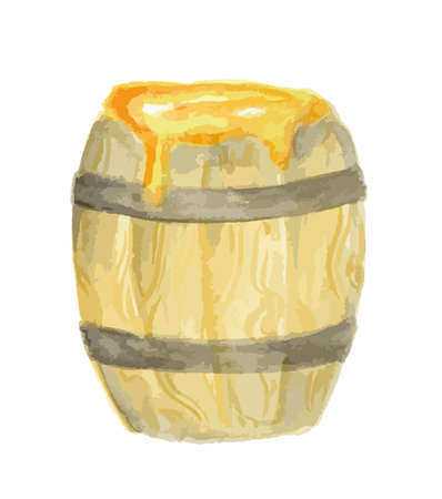 Isolated watercolor honey barrel on white background.