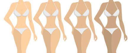 uv index: Stages of tanning. ISolated women on white background. Girls with different skin tones. Illustration