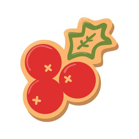 galleta de jengibre: Galletas de la Navidad chica. galletas de jengibre con la decoración aislada en el fondo blanco. regalo dulce y delicioso día de fiesta.