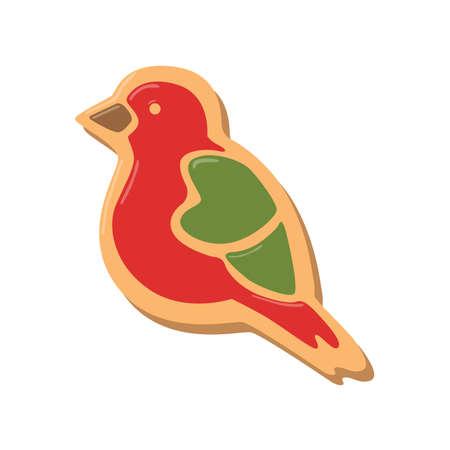 galleta de jengibre: Galletas de la Navidad chica. galletas de jengibre con la decoración aislada en el fondo blanco. regalo dulce y delicioso día de fiesta. Muchacha del ángel con pimiento verde. Pájaro rojo.