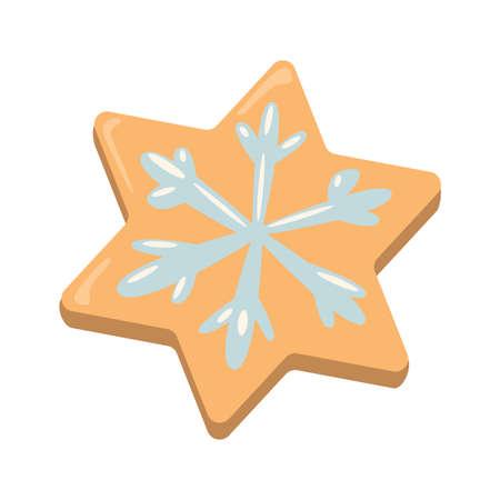 galleta de jengibre: Galletas de la Navidad chica. galletas de jengibre con la decoración aislada en el fondo blanco. regalo dulce y delicioso día de fiesta. Muchacha del ángel con pimiento verde. En forma de estrella.