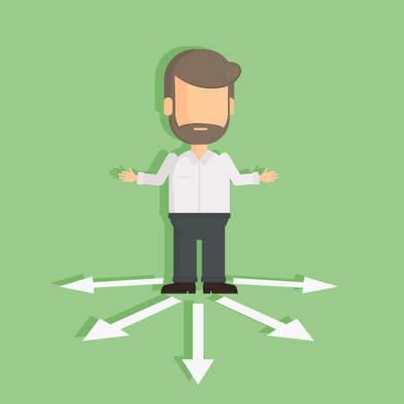 choosing: Man with choice arrows. Confused man standing on the crossroad. Choosing directions.