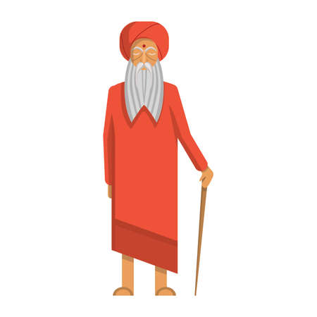 sadhu: Isolated indian guru standing on white background. Concept of hinduism and east, india. Illustration
