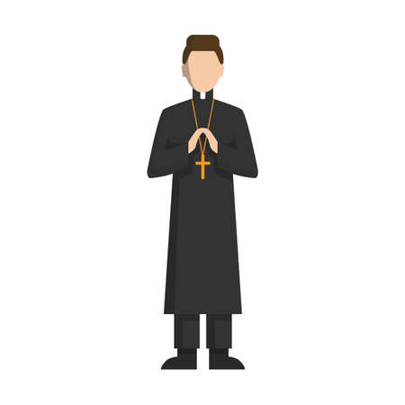 christian young: Isolated catholic priest standing on white background. COncept of catholic church.